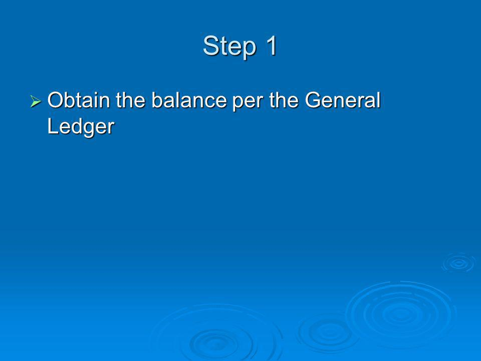 Step 1  Obtain the balance per the General Ledger