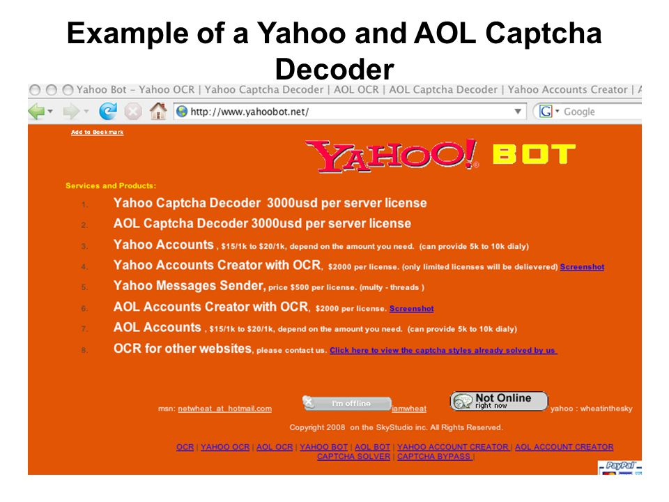 32 Example of a Yahoo and AOL Captcha Decoder