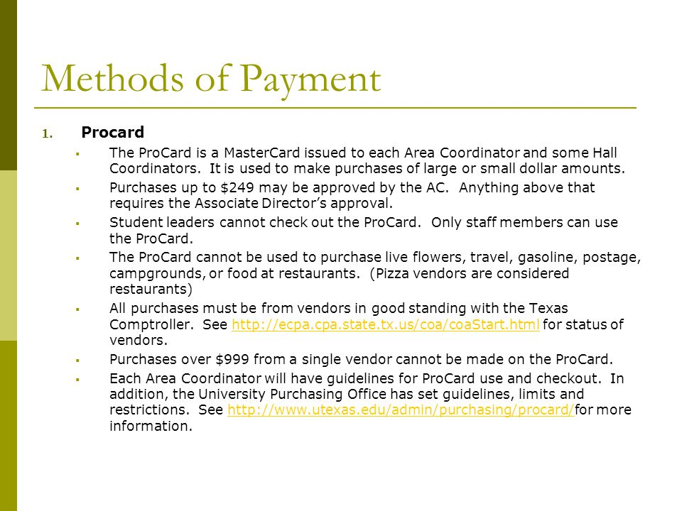 Methods of Payment 1.