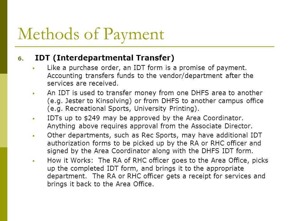Methods of Payment 6.