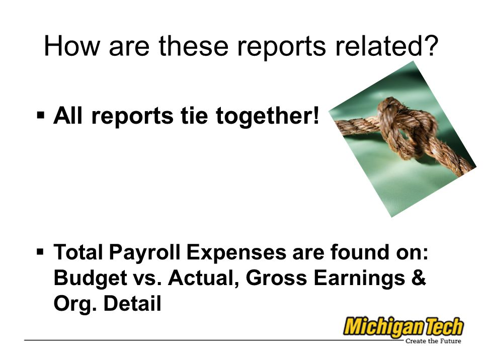 How are these reports related.  All reports tie together.