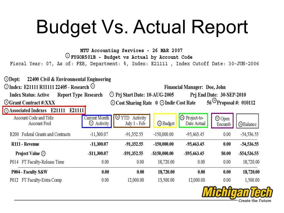 Budget Vs. Actual Report