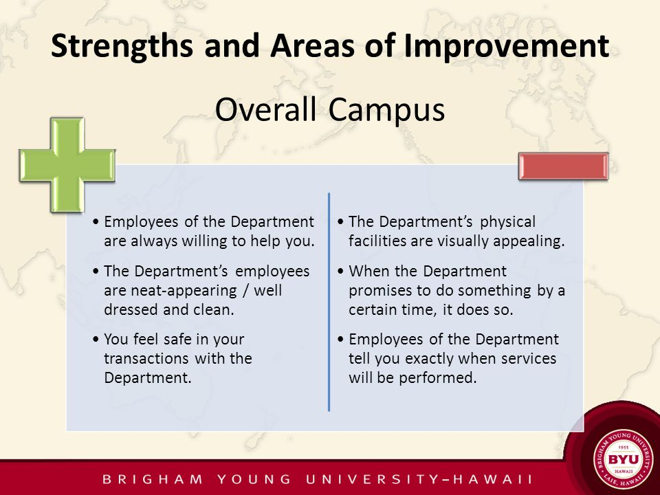 Campus-wide Comparison Share annual summary report with President's Council Allows us to see the campus as a whole Focus on strengths and areas of improvement Benchmark in the future