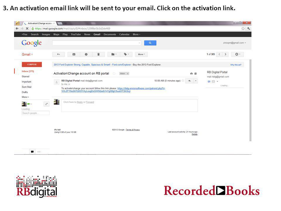 3. An activation email link will be sent to your email. Click on the activation link.
