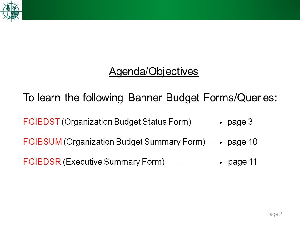 Page 2 Agenda/Objectives To learn the following Banner Budget Forms/Queries: FGIBDST (Organization Budget Status Form) page 3 FGIBSUM (Organization Bu