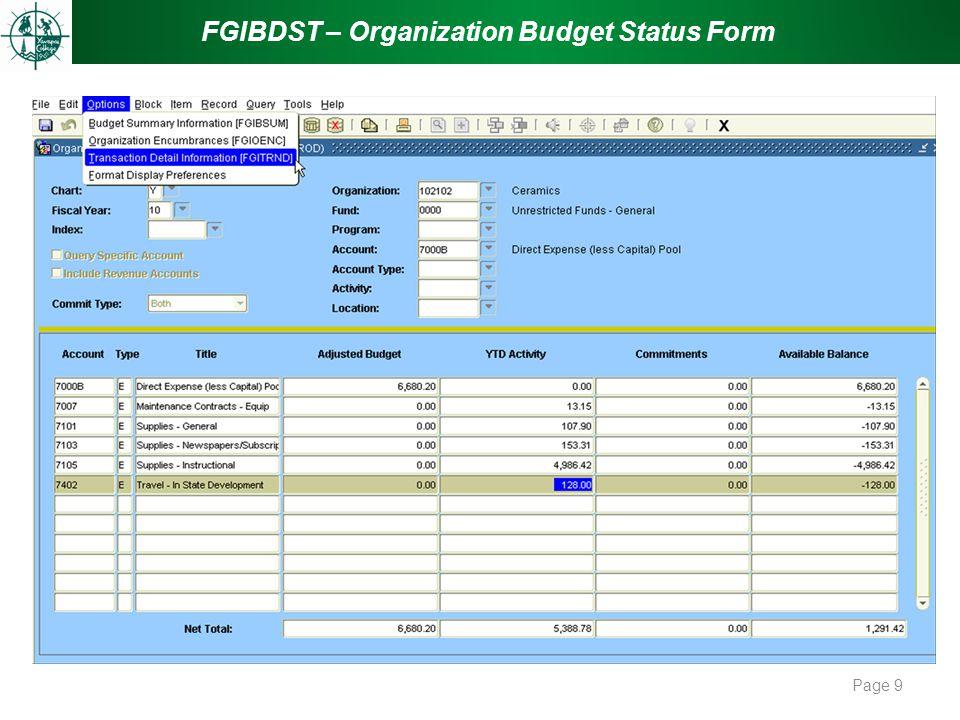 FGIBDST – Organization Budget Status Form Page 9