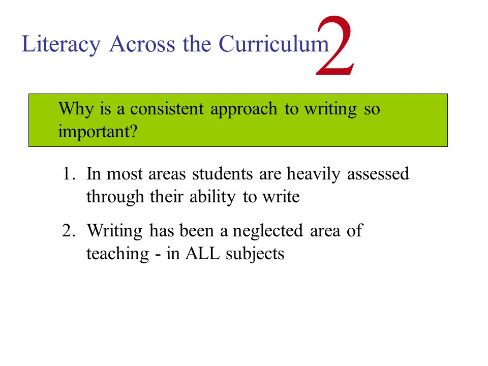 Literacy Across the Curriculum 2 Developing Consistent Writing Skills