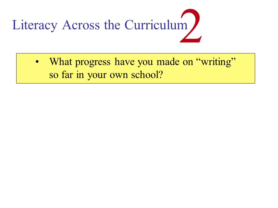 Literacy Across the Curriculum 2 1.In most areas students are heavily assessed through their ability to write 2.Writing has been a neglected area of teaching - in ALL subjects Why is a consistent approach to writing so important?