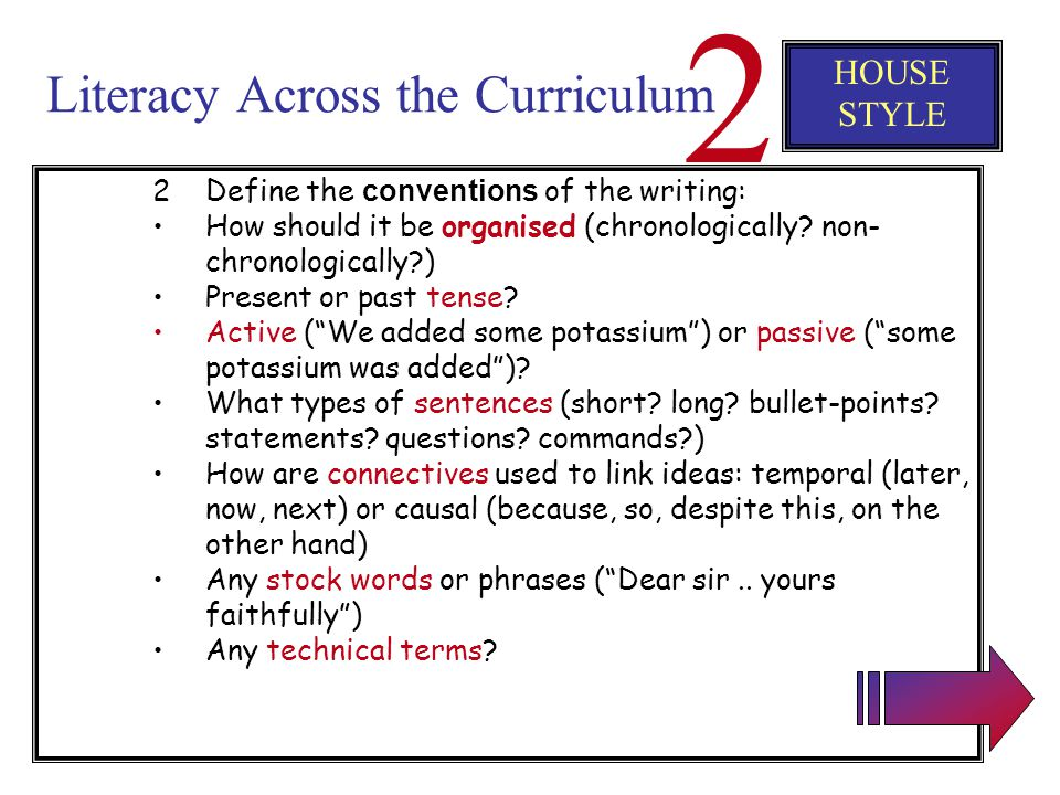Literacy Across the Curriculum 2 HOUSE STYLE 1Before pupils start to write, get them thinking about the purpose and audience. What is this text for? W
