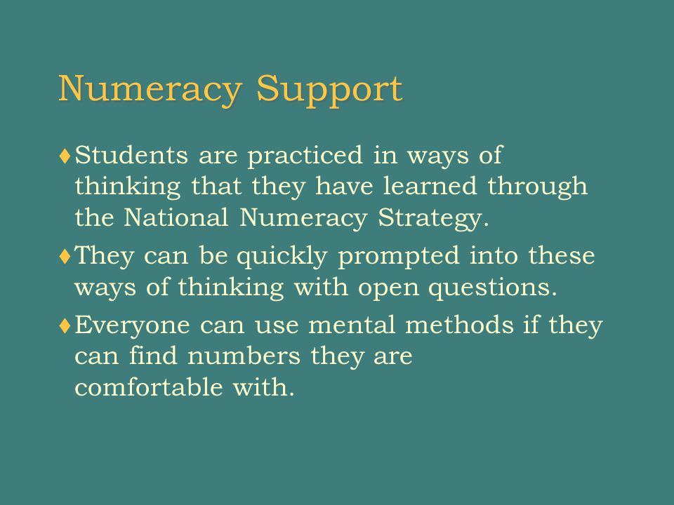 Numeracy Support  Students are practiced in ways of thinking that they have learned through the National Numeracy Strategy.
