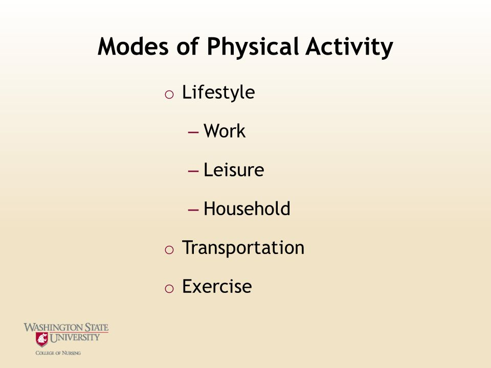 Modes of Physical Activity o Lifestyle – Work – Leisure – Household o Transportation o Exercise