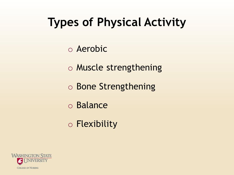Types of Physical Activity o Aerobic o Muscle strengthening o Bone Strengthening o Balance o Flexibility