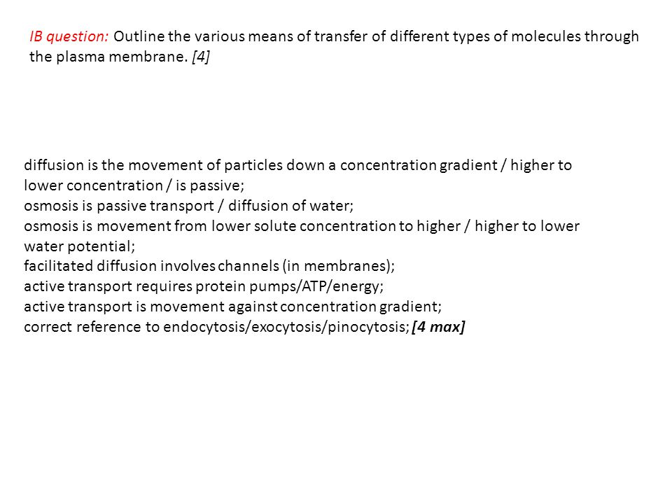 IB question: Outline the various means of transfer of different types of molecules through the plasma membrane.
