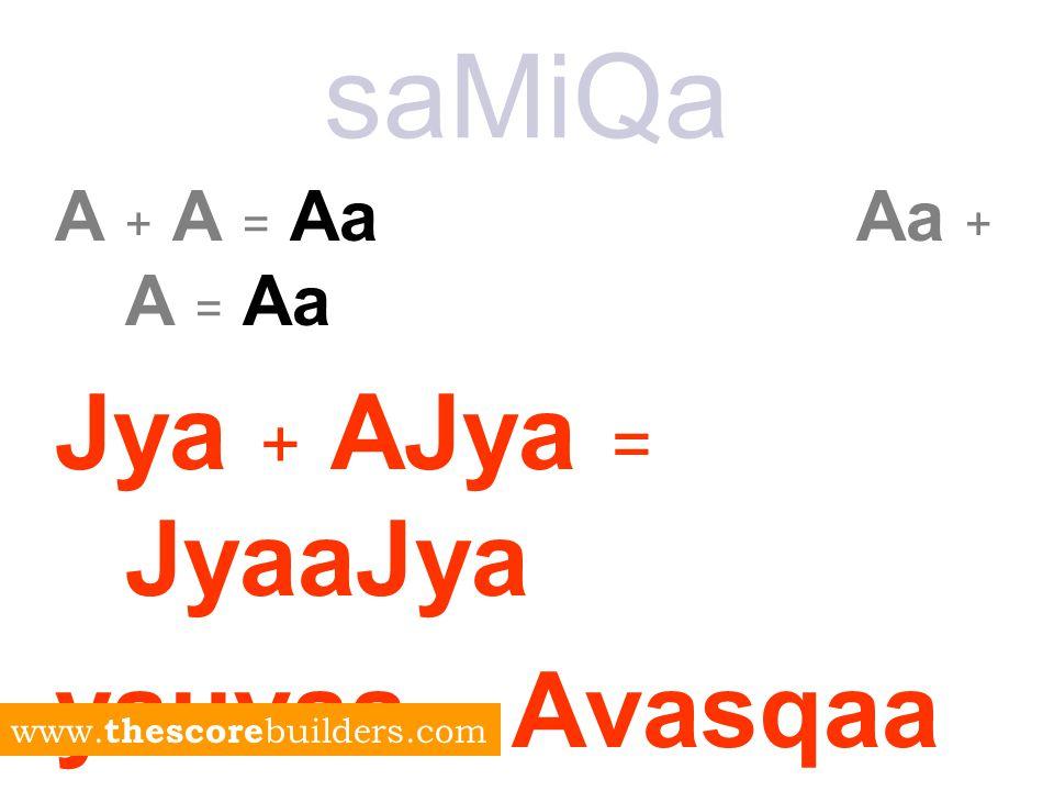 saMiQa A + A = Aa Aa + A = Aa Jya + AJya = JyaaJya yauvaa + Avasqaa = yauvaavasqaa www.