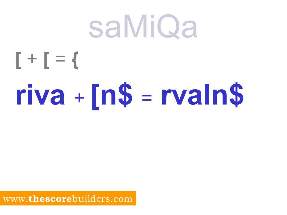 saMiQa [ + [ = { riva + [n$ = rvaIn$ www. thescore builders.com
