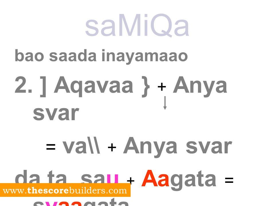 saMiQa bao saada inayamaao 2. ] Aqavaa } + Anya svar = va\\ + Anya svar da.ta.