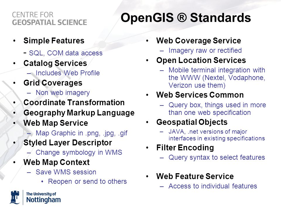 OpenGIS ® Standards Simple Features - SQL, COM data access Catalog Services –Includes Web Profile Grid Coverages –Non web imagery Coordinate Transformation Geography Markup Language Web Map Service –Map Graphic in.png,.jpg,.gif Styled Layer Descriptor –Change symbology in WMS Web Map Context –Save WMS session Reopen or send to others Web Coverage Service –Imagery raw or rectified Open Location Services –Mobile terminal integration with the WWW (Nextel, Vodaphone, Verizon use them) Web Services Common –Query box, things used in more than one web specification Geospatial Objects –JAVA,.net versions of major interfaces in existing specifications Filter Encoding –Query syntax to select features Web Feature Service –Access to individual features
