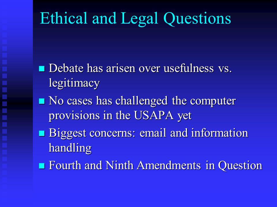Ethical and Legal Questions Debate has arisen over usefulness vs. legitimacy Debate has arisen over usefulness vs. legitimacy No cases has challenged