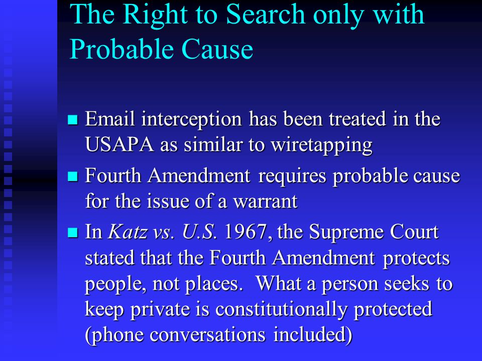 The Right to Search only with Probable Cause Email interception has been treated in the USAPA as similar to wiretapping Email interception has been tr