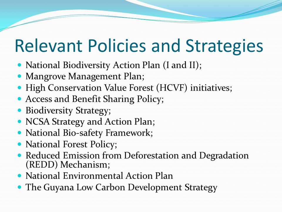 Relevant Policies and Strategies National Biodiversity Action Plan (I and II); Mangrove Management Plan; High Conservation Value Forest (HCVF) initiat