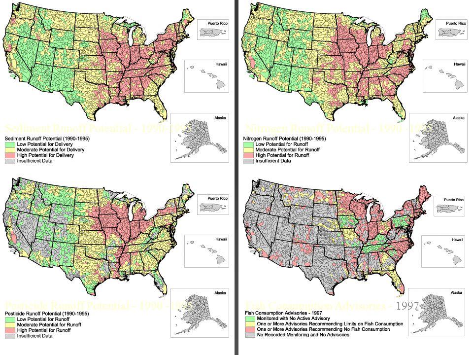 Sediment Runoff Potential - 1990-1995 Pesticide Runoff Potential - 1990 -1995 Nitrogen Runoff Potential - 1990 -1995 Fish Consumption Advisories - 199