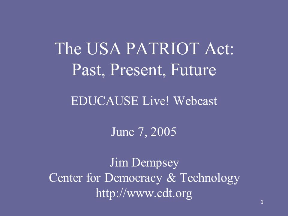 12 Sunsets Of over 150 provisions in the PATRIOT Act, only 16 provisions are covered by the sunset.