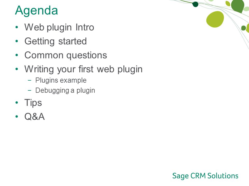 Agenda Web plugin Intro Getting started Common questions Writing your first web plugin −Plugins example −Debugging a plugin Tips Q&A