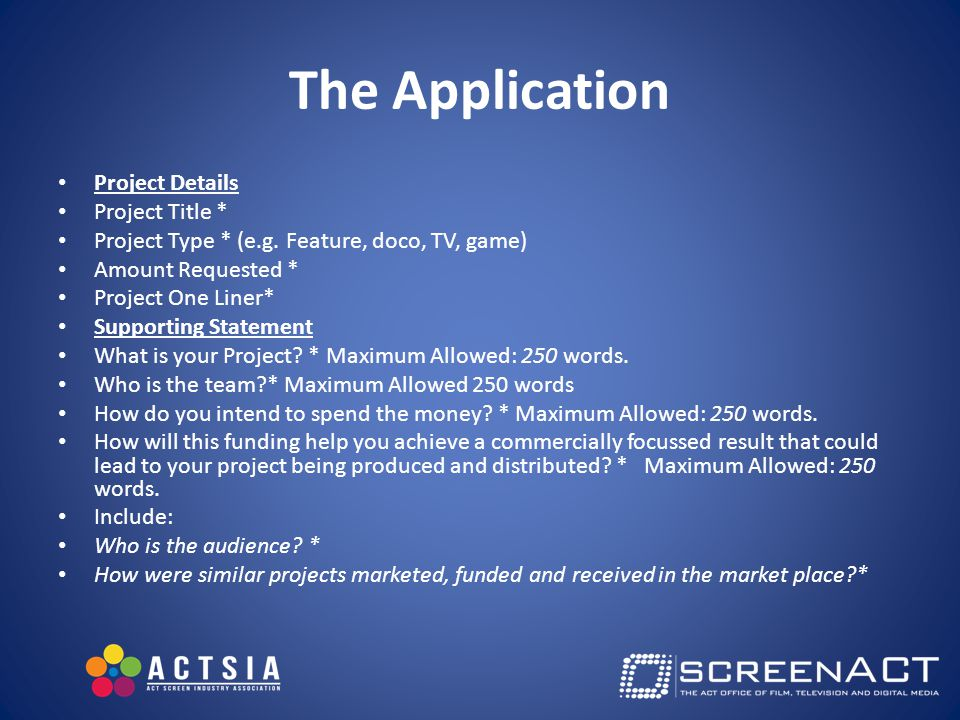 The Application Project Details Project Title * Project Type * (e.g.
