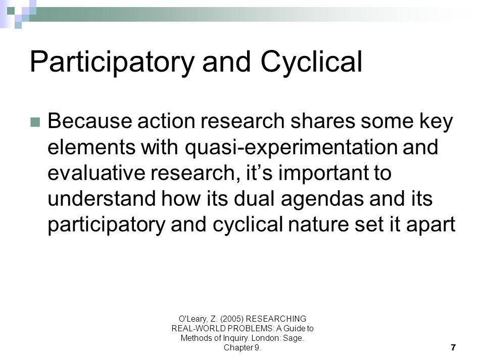 O'Leary, Z. (2005) RESEARCHING REAL-WORLD PROBLEMS: A Guide to Methods of Inquiry. London: Sage. Chapter 9.7 Participatory and Cyclical Because action