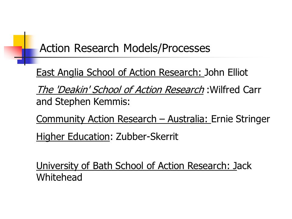 Action Research Models/Processes East Anglia School of Action Research: John Elliot The 'Deakin' School of Action Research :Wilfred Carr and Stephen K