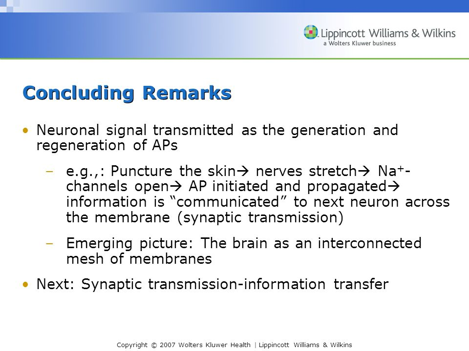 Copyright © 2007 Wolters Kluwer Health | Lippincott Williams & Wilkins Concluding Remarks Neuronal signal transmitted as the generation and regenerati