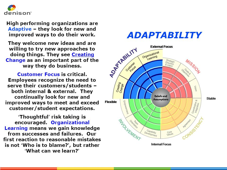 ADAPTABILITY High performing organizations are Adaptive – they look for new and improved ways to do their work. They welcome new ideas and are willing