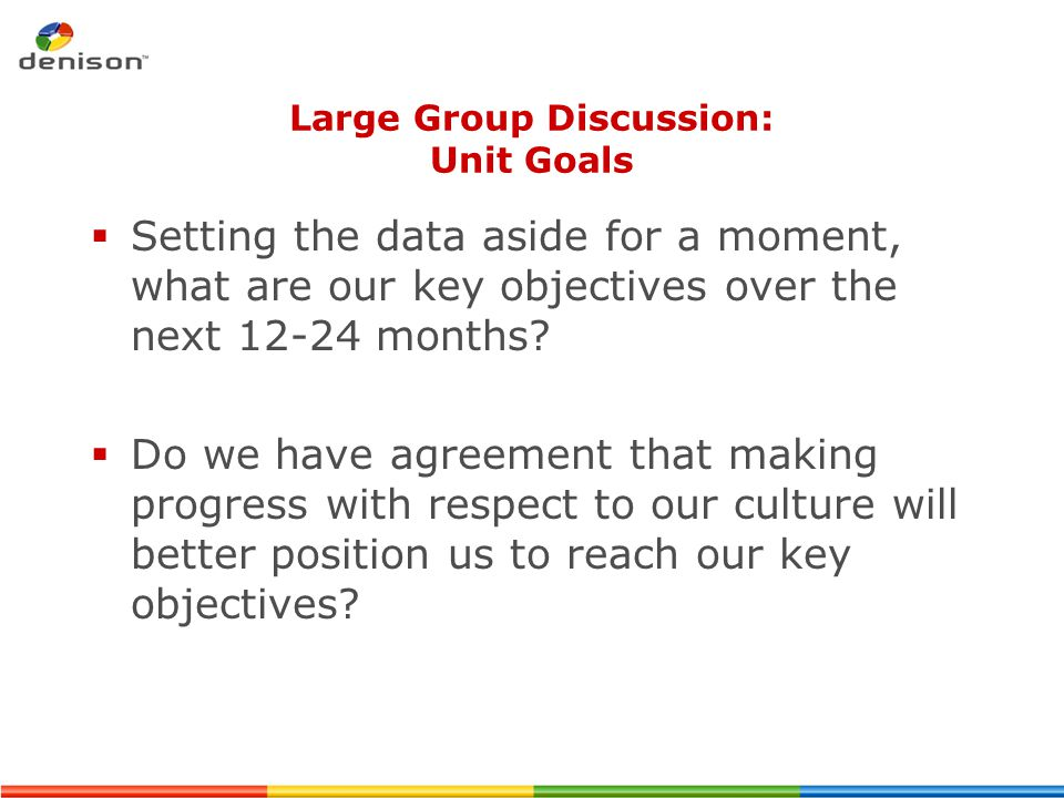 Large Group Discussion: Unit Goals  Setting the data aside for a moment, what are our key objectives over the next 12-24 months?  Do we have agreeme