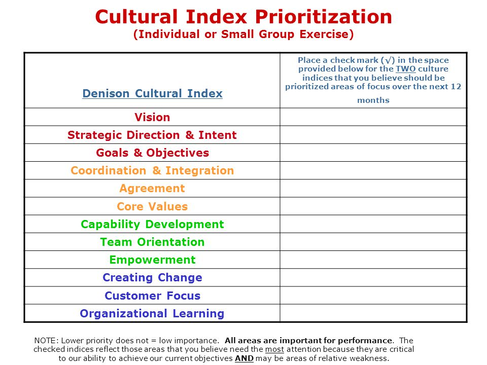Denison Cultural Index Place a check mark (√) in the space provided below for the TWO culture indices that you believe should be prioritized areas of