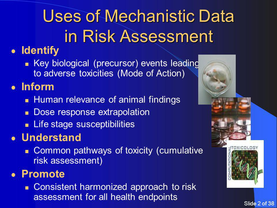 Slide 2 of 38 Uses of Mechanistic Data in Risk Assessment Identify Key biological (precursor) events leading to adverse toxicities (Mode of Action) Inform Human relevance of animal findings Dose response extrapolation Life stage susceptibilities Understand Common pathways of toxicity (cumulative risk assessment) Promote Consistent harmonized approach to risk assessment for all health endpoints