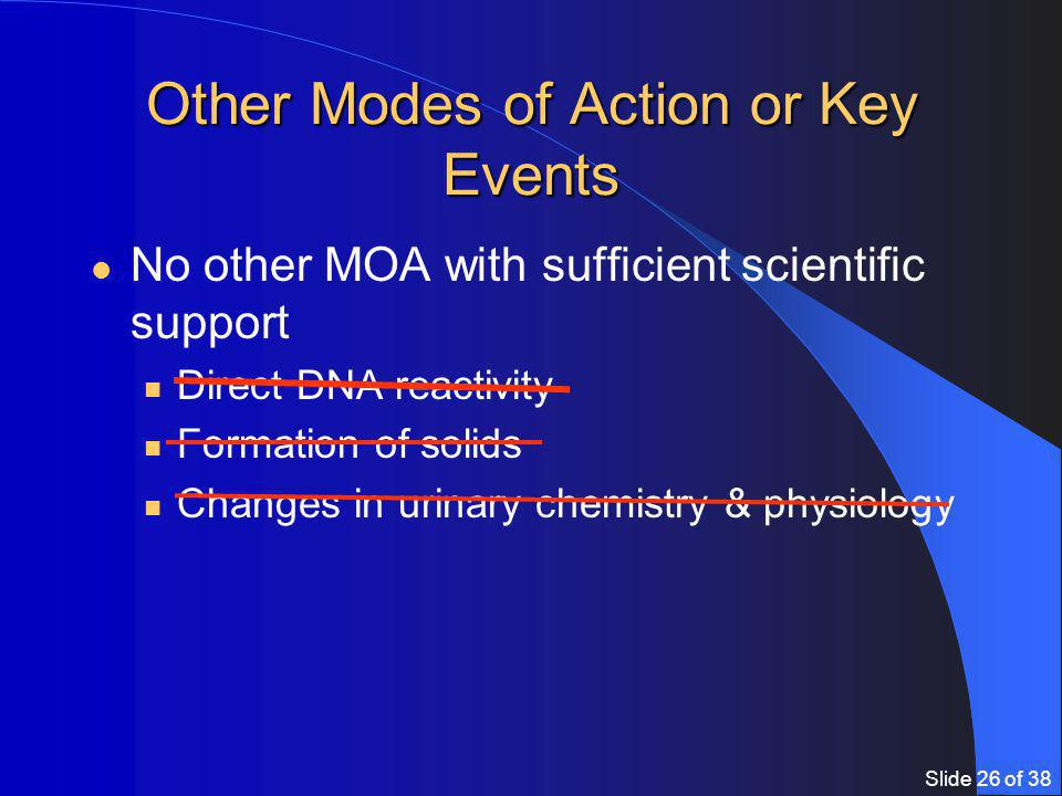 Slide 26 of 38 Other Modes of Action or Key Events No other MOA with sufficient scientific support Direct DNA reactivity Formation of solids Changes in urinary chemistry & physiology