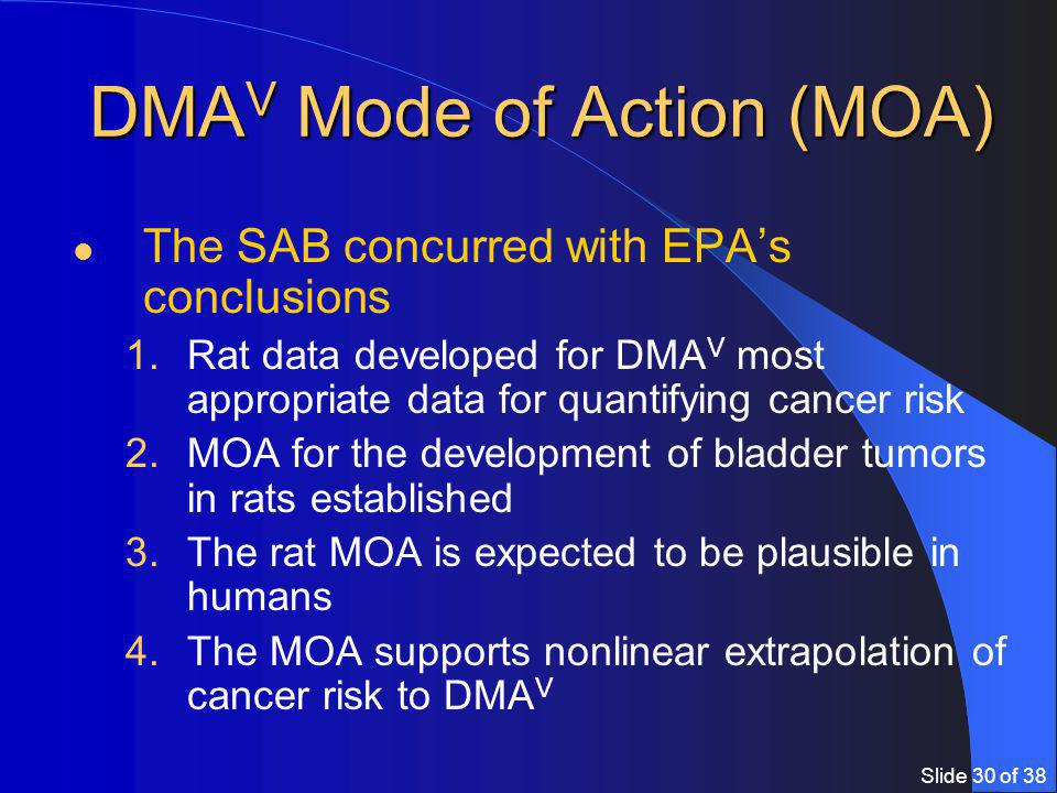 Slide 30 of 38 DMA V Mode of Action (MOA) The SAB concurred with EPA's conclusions 1.Rat data developed for DMA V most appropriate data for quantifying cancer risk 2.MOA for the development of bladder tumors in rats established 3.The rat MOA is expected to be plausible in humans 4.The MOA supports nonlinear extrapolation of cancer risk to DMA V