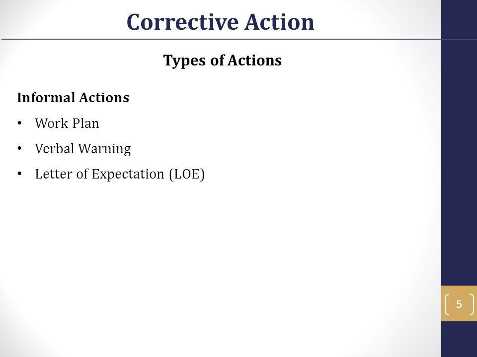 Types of Actions Informal Actions Work Plan Verbal Warning Letter of Expectation (LOE) Corrective Action 5