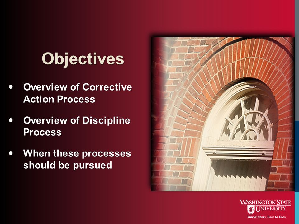 Overview of Corrective Action Process Overview of Corrective Action Process Overview of Discipline Process Overview of Discipline Process When these p