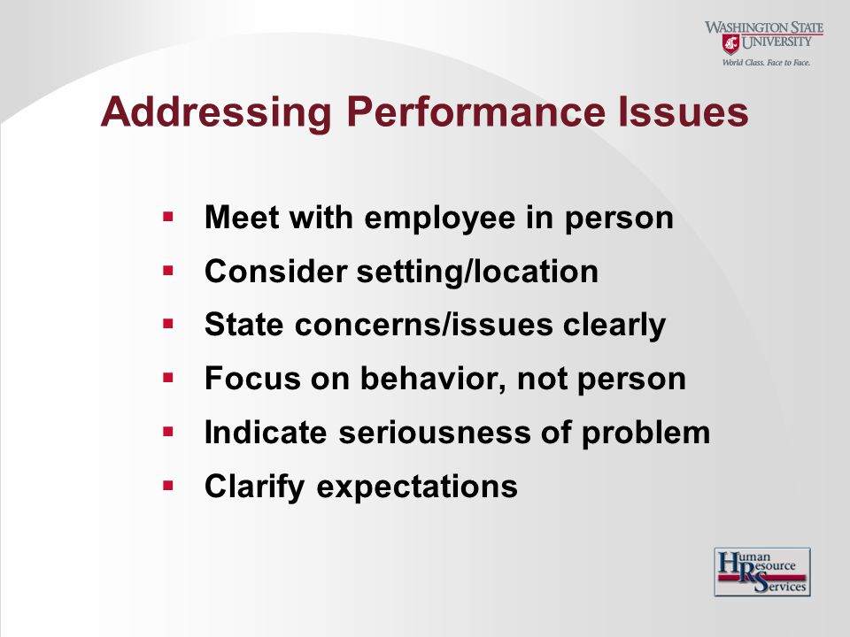 Addressing Performance Issues  Meet with employee in person  Consider setting/location  State concerns/issues clearly  Focus on behavior, not pers