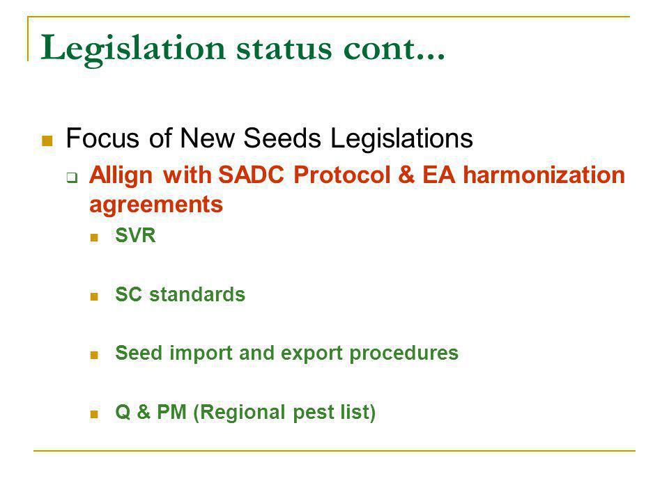 Legislation status cont... Focus of New Seeds Legislations  Allign with SADC Protocol & EA harmonization agreements SVR SC standards Seed import and