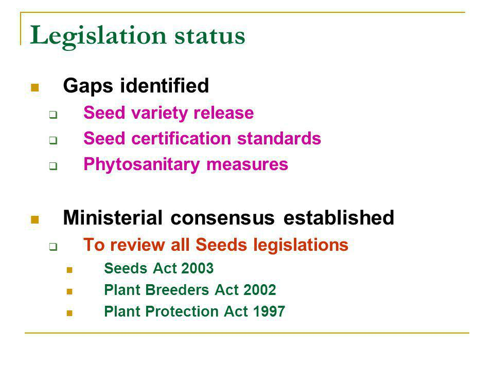Legislation status Gaps identified  Seed variety release  Seed certification standards  Phytosanitary measures Ministerial consensus established  To review all Seeds legislations Seeds Act 2003 Plant Breeders Act 2002 Plant Protection Act 1997