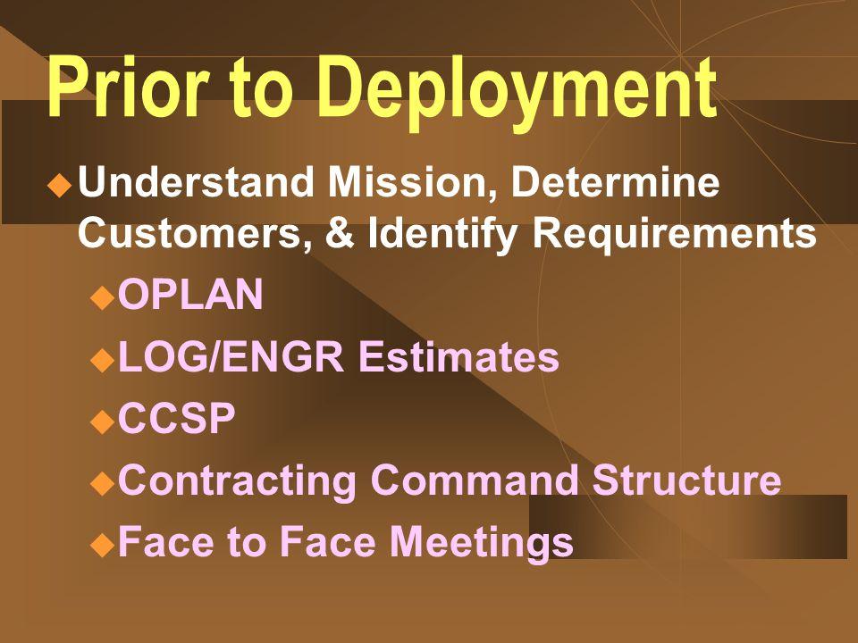29 CCO Pre-Deployment Actions
