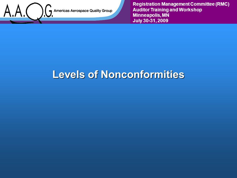 Registration Management Committee (RMC) Auditor Training and Workshop Minneapolis, MN July 30-31, 2009 Levels of Nonconformities