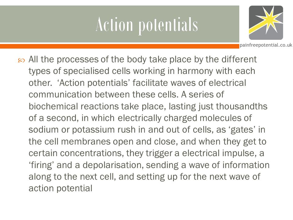 Action potentialsAction potentials  All the processes of the body take place by the different types of specialised cells working in harmony with each other.