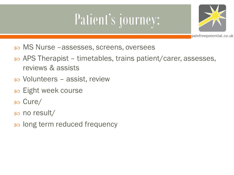 Patient's journey:Patient's journey:  MS Nurse –assesses, screens, oversees  APS Therapist – timetables, trains patient/carer, assesses, reviews & assists  Volunteers – assist, review  Eight week course  Cure/  no result/  long term reduced frequency
