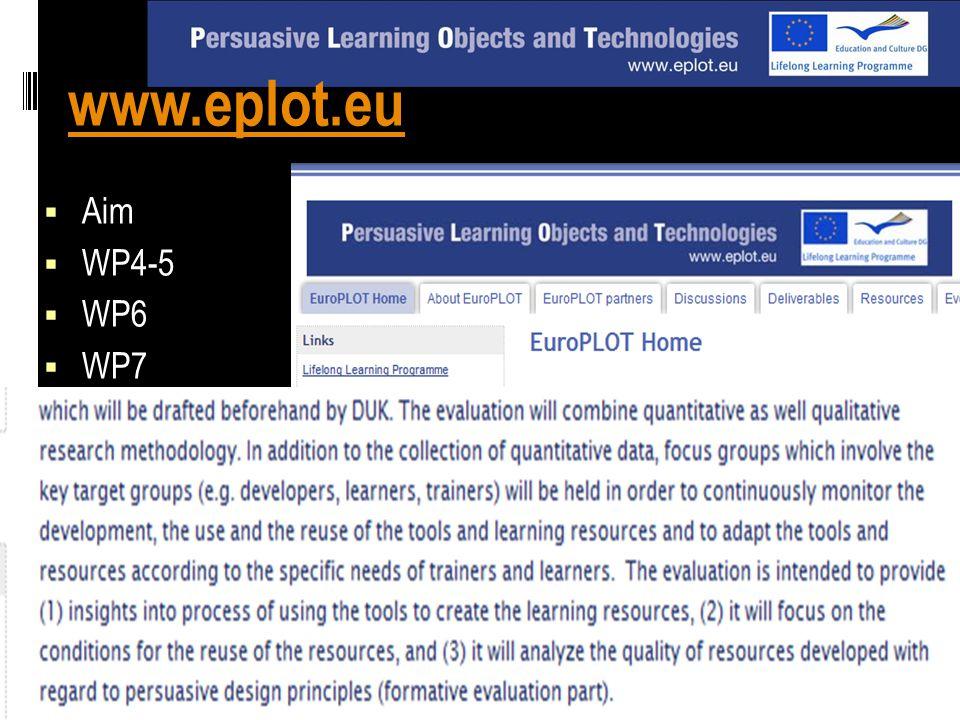  Aim  WP4-5  WP6  WP7 www.eplot.eu