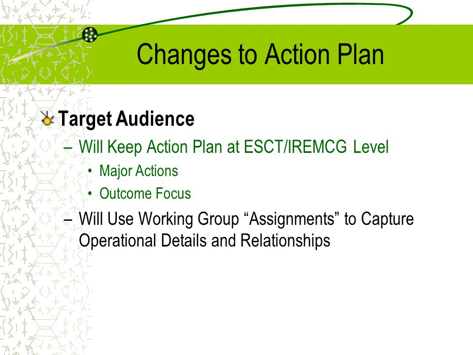 "Changes to Action Plan Target Audience –Will Keep Action Plan at ESCT/IREMCG Level Major Actions Outcome Focus –Will Use Working Group ""Assignments"" t"