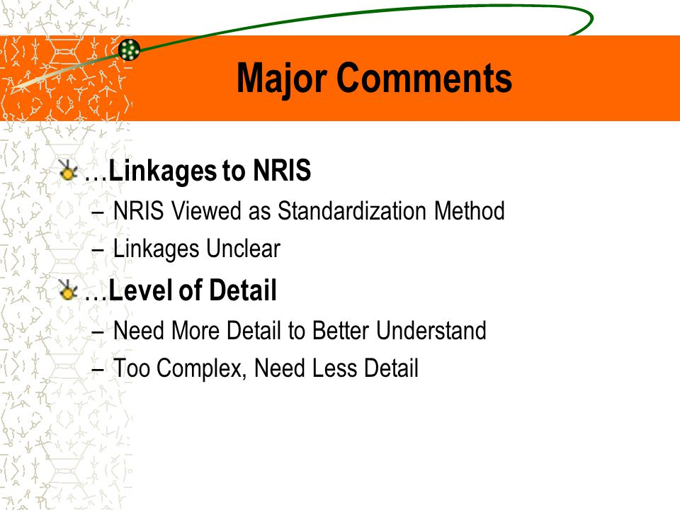 Major Comments … Linkages to NRIS –NRIS Viewed as Standardization Method –Linkages Unclear … Level of Detail –Need More Detail to Better Understand –T