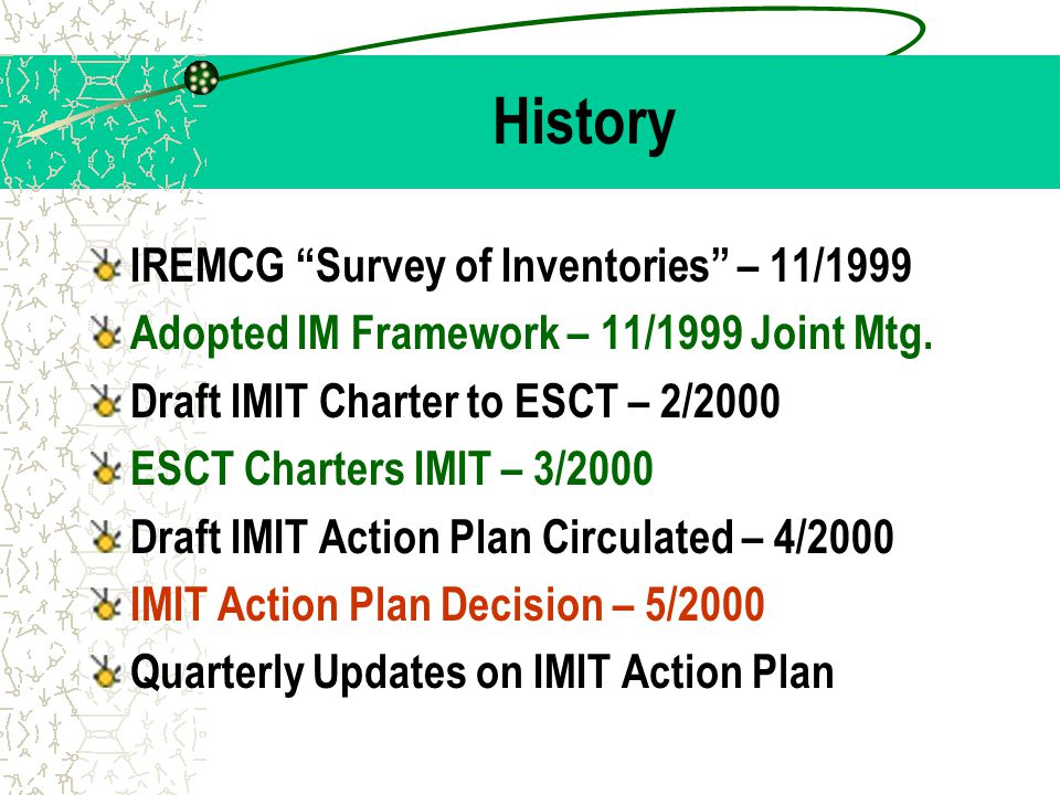 "History IREMCG ""Survey of Inventories"" – 11/1999 Adopted IM Framework – 11/1999 Joint Mtg. Draft IMIT Charter to ESCT – 2/2000 ESCT Charters IMIT – 3/"